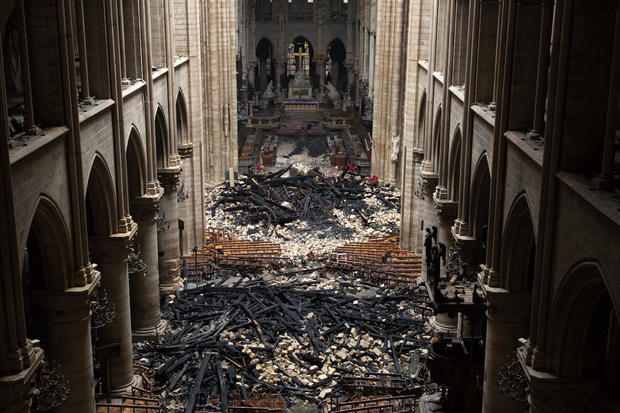 The interior of Notre Dame Cathedral is seen after a massive fire April 15, 2019.