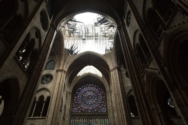 One of Notre Dame Cathedral's famous rose windows is seen after a massive fire April 15, 2019.