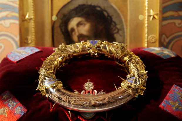 The crown of thorns believed to have been worn by Jesus at his crucifixion is displayed during a ceremony at Notre Dame Cathedral in Paris March 21, 2014.
