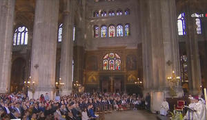Catholics celebrate Easter Sunday Mass at Saint Eustache church in Paris