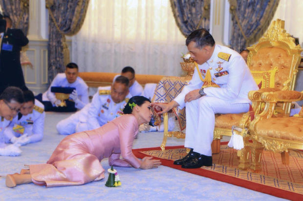 King Maha Vajiralongkorn and his consort, General Suthida Vajiralongkorn named Queen Suthida attend their wedding ceremony in Bangkok