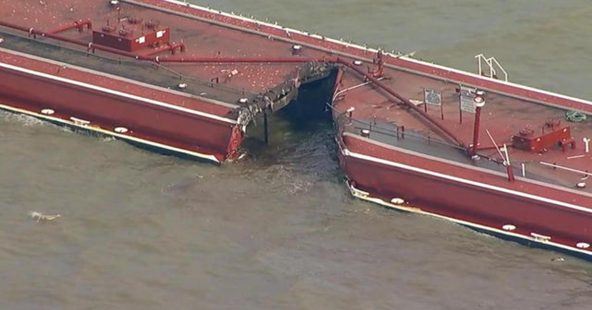 Two barges and oil tanker collide in shipping channel near Houston