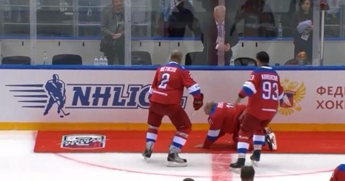 Russian President Putin Falls During Hockey Game Victory Lap Cbs News
