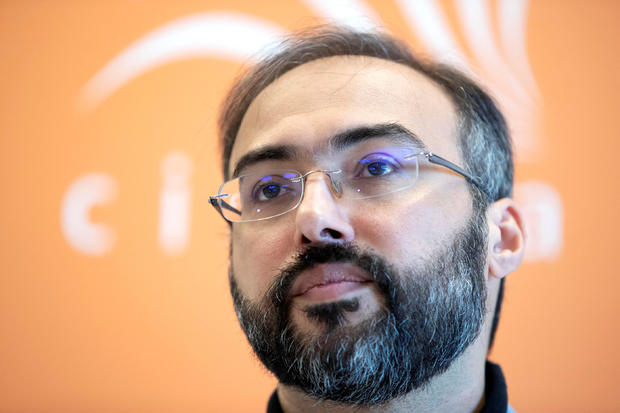 Arab pro-democracy campaigner Iyad el-Baghdadi attends news conference in Oslo