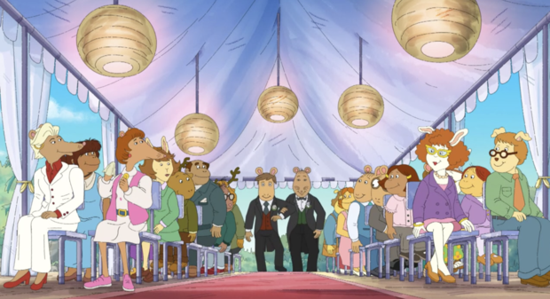 Arthur and his friends show up to the wedding ready to object to it – only to see Mr. Ratburn walk down the aisle with his groom.