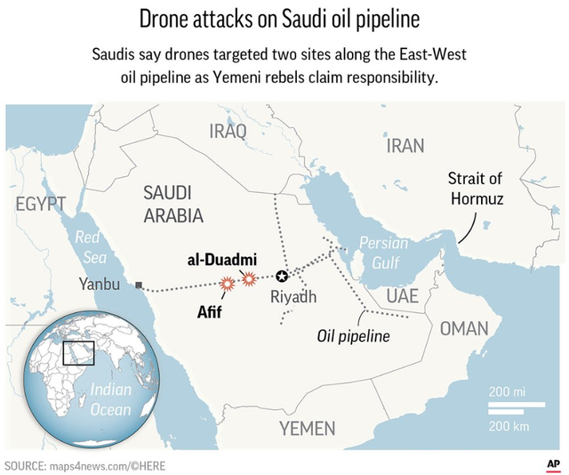 Saudi Arabia: Energy minister says oil pipeline hit with drone