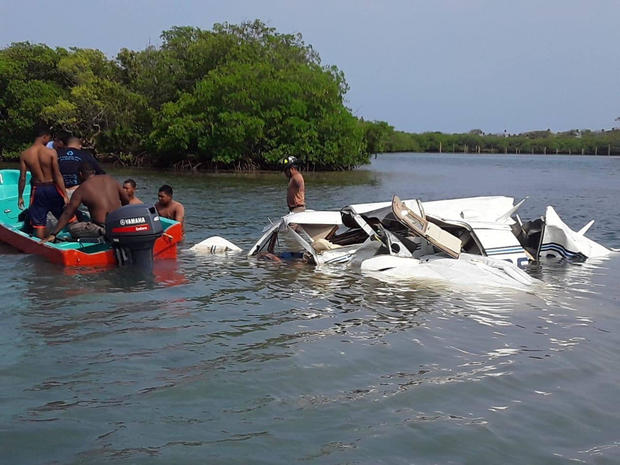A view shows wreckage of a plane that crashed into the sea near the island of Roatan, Honduras