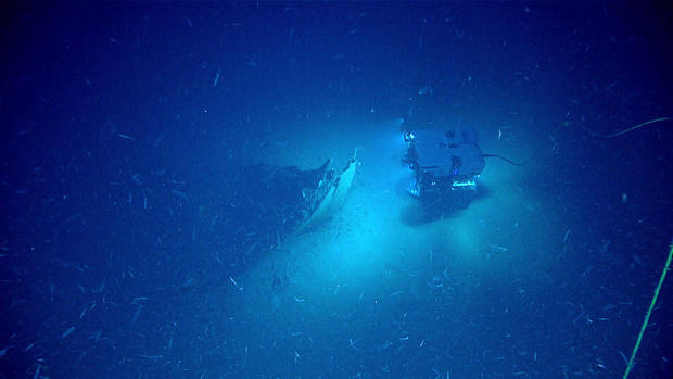 The remote-operated vehicle Deep Discoverer approaches the bow of a shipwreck on the bottom of the Gulf of Mexico on May 16, 2019.
