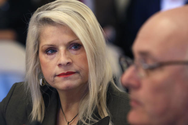 Arkansas state Sen. Linda Collins-Smith, R-Pocahontas, listens to testimony at a meeting of the Senate Committee on Public Health, Welfare, and Labor at the Arkansas Capitol in Little Rock Jan. 28, 2015.