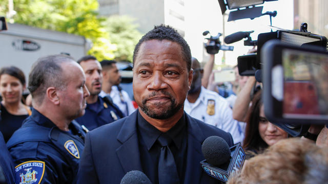 Actor Gooding Jr. is surrounded by media as he leaves New York Criminal Court in the Manhattan borough of New York City