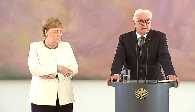 German Chancellor Angela Merkel was seen shaking as she met President Frank-Walter Steinmeier in Berlin