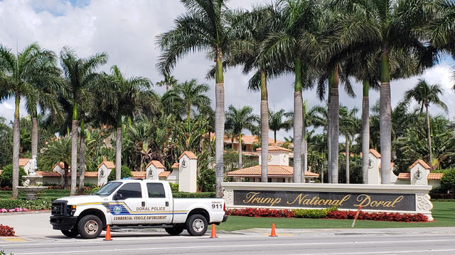 The entrance to the Trump National Doral Miami golf club remained blocked off as police continued an investigation in Doral Florida