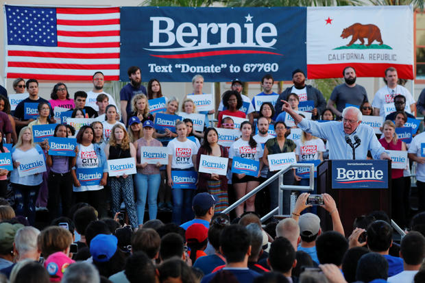 Democratic presidential candidate U.S. Sen. Bernie Sanders speaks at a rally in Long Beach, California