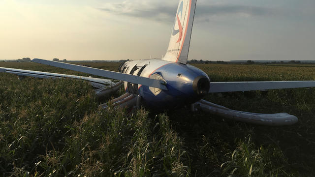 A view shows a passenger plane following an emergency landing near Moscow