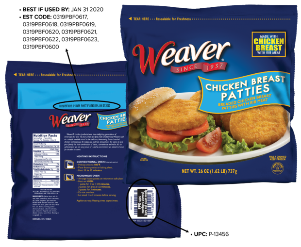 Tyson recalls almost 40,000 pounds of Weaver frozen chicken patties