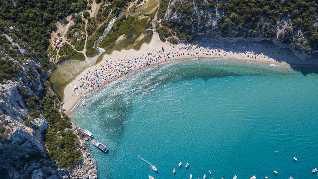Aerial view of famous Cala Luna Beach, Sardinia
