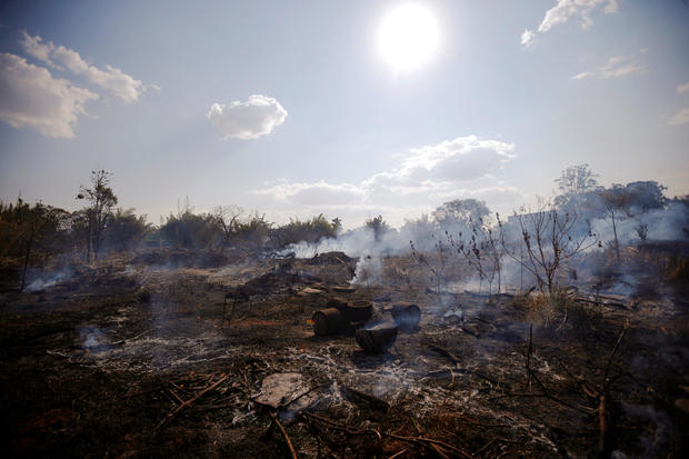 A view of the devastation caused by a fire during the dry season in Brasilia