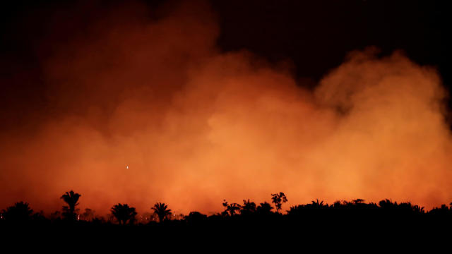 Fire in an area of the Amazon rainforest near Humaita, Brazil