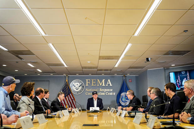 US President Donald Trump attends a briefing by the Federal Emergency Management Agency ( FEMA) on Hurricane Dorian in Washington
