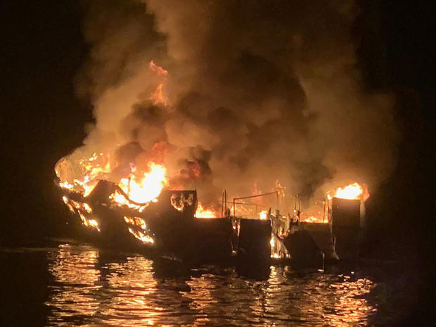A diving vessel burns off the coast of Southern California on September 2, 2019.