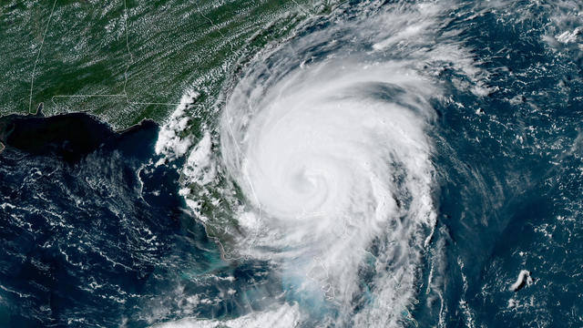 Hurricane Dorian churns near the east coast of Florida in a satellite image captured at 4:16 p.m. ET on September 3, 2019.