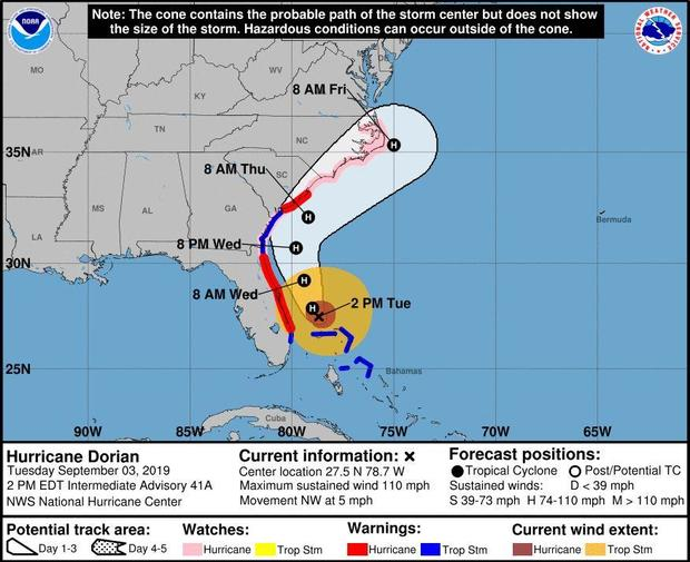 A map shows the projected path of Hurricane Dorian as of 2 p.m. ET on September 3, 2019.