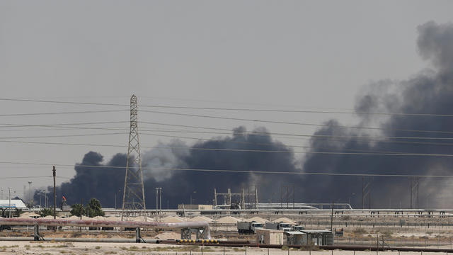 FILE PHOTO: Smoke is seen following a fire at Aramco facility in the eastern city of Abqaiq