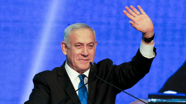 Israeli Prime Minister Benjamin Netanyahu arrives at the Likud party headquarters following the announcement of exit polls during Israel's parliamentary election in Tel Aviv, Israel, September 18, 2019.