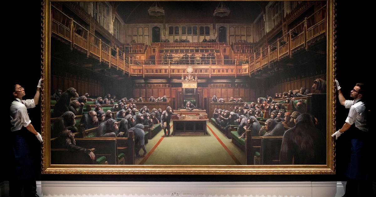 Banksy painting of British politicians as chimpanzees sells for record $12.2 million