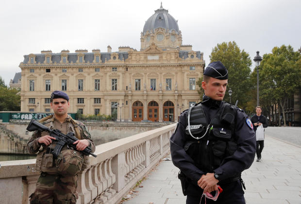 French police secure the area in front of the Paris police headquarters in Paris, France, October 3, 2019.