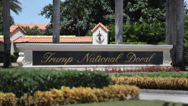 A Trump National Doral sign is seen at the golf resort owned by President Trump's company on August 27, 2019, in Doral, Florida.