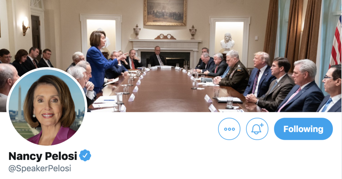 "Nancy Pelosi took Trump's tweet about her ""meltdown"" and made it her Twitter cover photo"