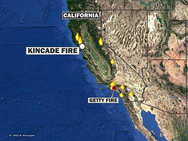 California wildfires map 2019