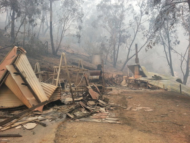 A view of a destroyed fire shed, in Jenolan Caves