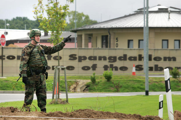 A US soldier stands guard, 11 September