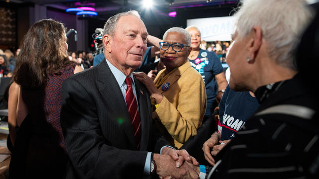 "Democratic U.S. presidential candidate Mike Bloomberg greets supporters at the end of his campaign event ""Women for Mike"" in the Manhattan borough of New York City"
