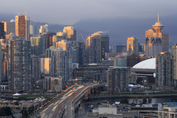 Canada British Columbia Vancouver - Vancouver Downtown, Cambie Bridge, BC Place Stadium (Celebration Place for 2010 Winter Olympics), Harbour Centre, Scotia Tower, False Creek in the evening.