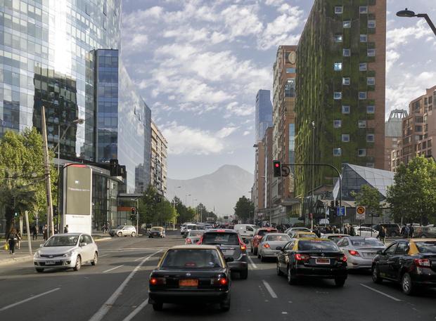 Street scene in Santiago de Chile, capital of Chile