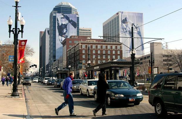A grid-lock of cars snarl traffic in downtown Salt