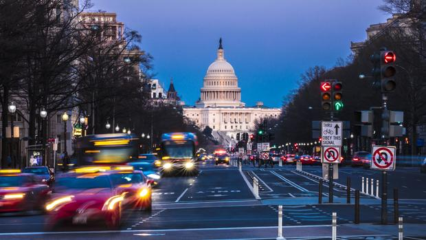 Pennsylvania Ave to US Capitol with Streaked lights during evening rush hour