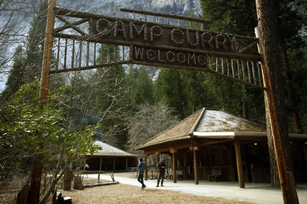 The historic wood sign at Camp Curry still greets visitors arriving at the famous lodging site in Y