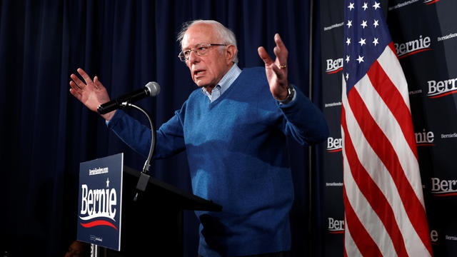 Democratic U.S. presidential candidate Senator Bernie Sanders speaks at a news conference in Manchester