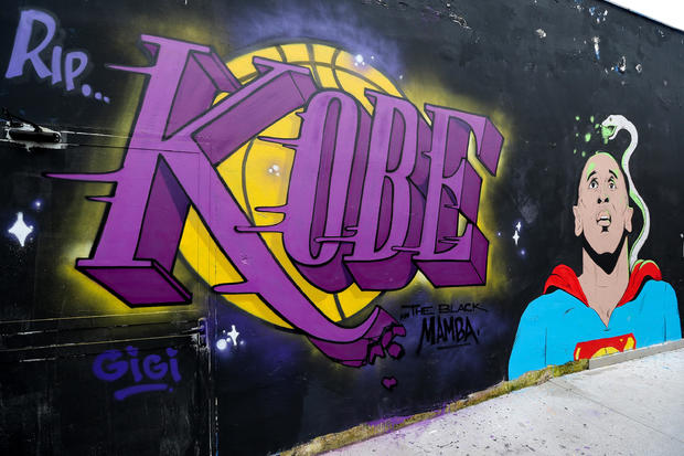A view of a mural dedicated to the basketball player, Kobe
