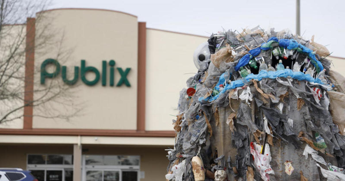 """15-foot """"plastic monster"""" erected outside Publix to shame the store for using plastic bags"""