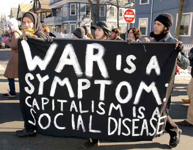 Students Protest U.S. President George W. Bush And Possible Iraq War