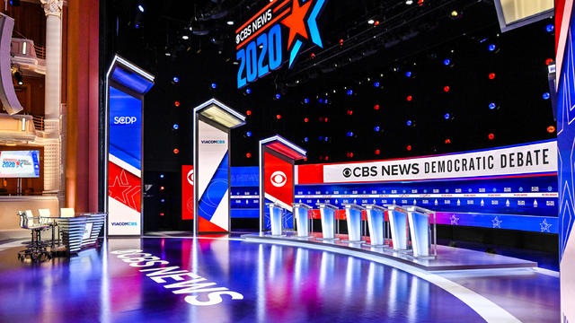 The stage for CBS News' Democratic debate is seen in Charleston, South Carolina.
