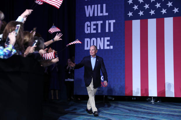 Democratic presidential candidate former New York City Mayor Mike Bloomberg walks out before speaking at his Super Tuesday night event on March 03, 2020 in West Palm Beach, Florida. 1,357 Democratic delegates are at stake as voters cast their ballots in 14 states and American Samoa on what is known as Super Tuesday. (Credit: Joe Raedle / GETTY IMAGES)