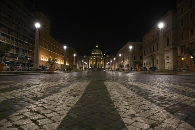 A view of Saint Peters Basilica from Via della