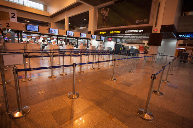 A view of the empty check-in counters at Don Mueang Airport