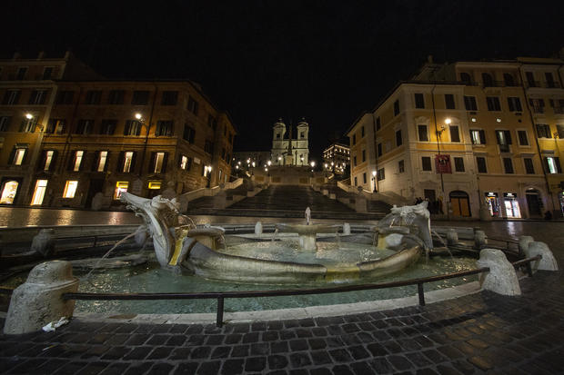 A view of the empty Spanish Step in Rome in the evening